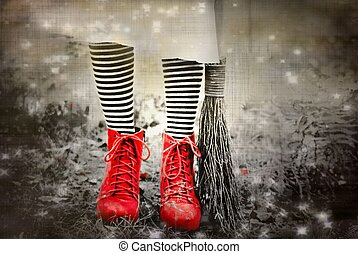 Wicked I - red shoes with black and white socks, fictional...