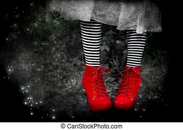 Wicked II - red shoes with black and white socks, fictional...