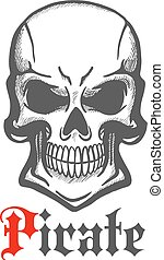 Wicked skull with crazy cheesy grin sketch