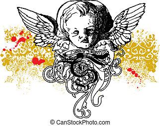 Wicked winged cherub illustration - Wicked cherub vector...