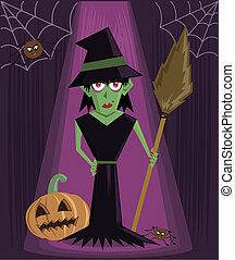 Wicked Witch halloween character vector illustration. Fully...