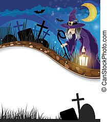 Wicked witch on a night cemetery