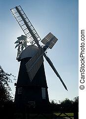 Wicken windmill - Silhouette of Wicken windmill,...