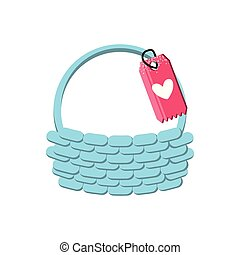 wicker basket and tag with heart vector illustration design