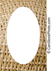 Wicker basket background and white oval in center