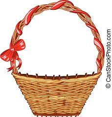 Wicker Basket - Wicker Easter basket on white background