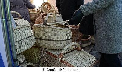 wicker basket fair woman