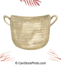 Wicker Basket for home decor watercolor illustration Item isolated on a white background