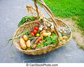 Wicker basket full with homegrown summer vegetables