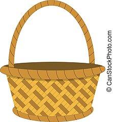 Wicker basket icon, empty wicker basket illustration, vector illustration in flat design .
