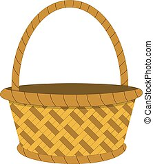 Wicker basket icon, empty wicker basket illustration, vector...