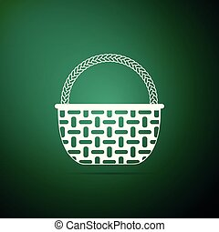 Wicker basket icon isolated on green background. Flat design. Vector Illustration
