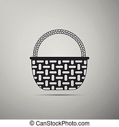 Wicker basket icon isolated on grey background. Flat design. Vector Illustration