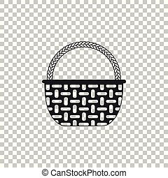Wicker basket icon isolated on transparent background. Flat design. Vector Illustration