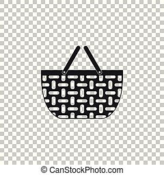 Wicker basket icon isolated on transparent background. Shopping basket symbol. Flat design. Vector Illustration