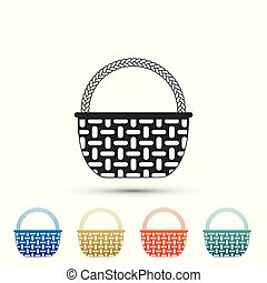 Wicker basket icon isolated on white background. Set elements in colored icons. Flat design. Vector Illustration