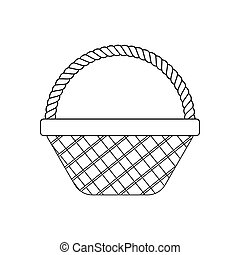 Wicker Basket Icon on the white background. Vector illustration