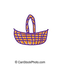 Wicker basket in a deliberately childish style. Child drawing. Sketch imitation painting felt-tip pen or marker. Vector illustration.