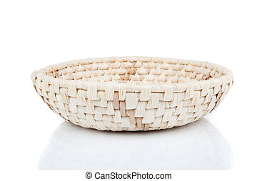 wicker basket, isolated on a white background