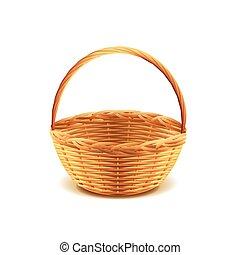 Wicker basket isolated on white vector - Wicker basket...