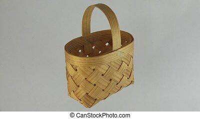 Wicker basket made of birch bark. 4K. - Wicker basket made...
