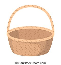 Wicker basket made of twigs. Easter single icon in cartoon...