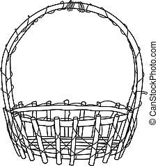 Wicker Basket outline Vector - image of Empty wicker basket....