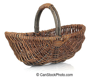 Rustic wicker shopping basket isolated over white background.
