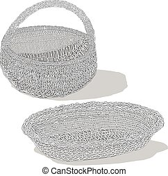 Wicker basket. Vector