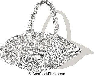 Wicker basket. Vector.