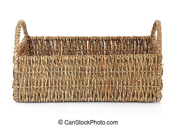 Wicker Basket - Wicker basket on a white background.