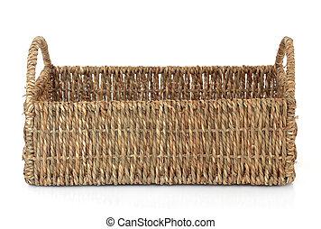 Wicker Basket - Wicker basket on a white background.
