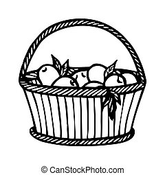 WICKER BASKET WITH APPLES