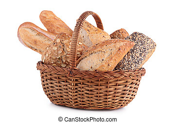 wicker basket with baking products