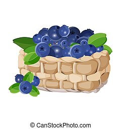 Wicker basket with blueberries realistic vector illustration isolated on white.