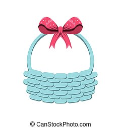 wicker basket with bow isolated icon vector illustration...