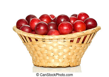 Wicker basket with cherry plums