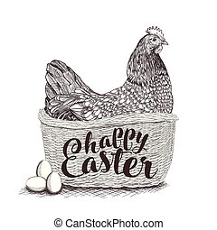 Wicker basket with Easter bunny, spring chickens, colorful flowers, painted eggs and willow twigs isolated on white background