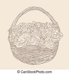 wicker basket with flowers sketch on brown background. vector illustration