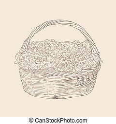 wicker basket with flowers vector drawing on brown background
