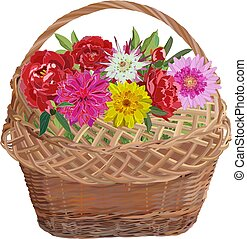 Wicker basket with flowers, vector isolated illustration