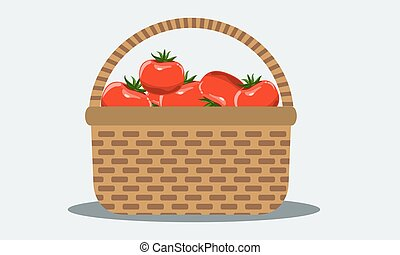 Wicker basket with fresh tomatoes. Illustrated vector. Solid flat color.
