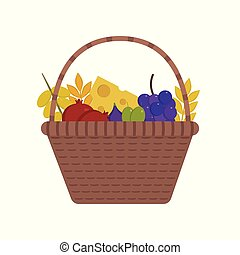 Wicker basket with fruits and dairy products icon in flat design