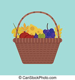 Wicker basket with fruits and dairy products icon in flat design with blue background