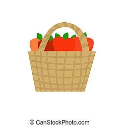 Wicker basket with red ripe apples inside