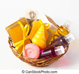 Wicker basket with soap, gel and other for bath and shower