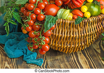 Wicker basket with various colorful vegetables