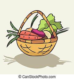 wicker basket with vegetables vector