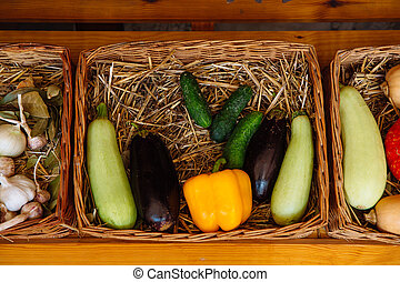 Wicker basket with vegetables.