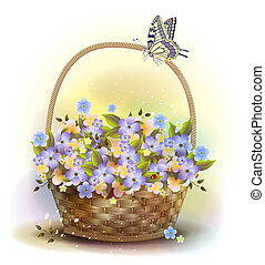 Wicker basket with violets. Victorian style.